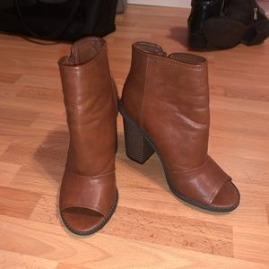 F21 Brown Peep-Toe Booties